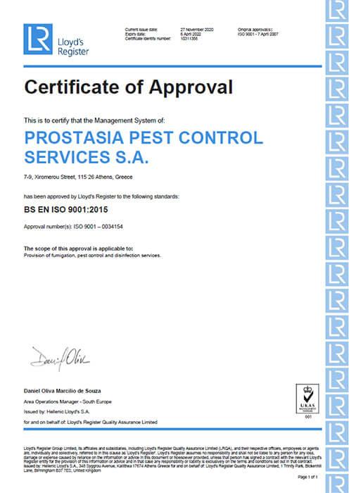 Εικονίζεται το πιστοποιητικό EN ISO 9001:2015 το οποίο εκδώθηκε από την Lloyd's Register για την Prostasia pest control services S.A.